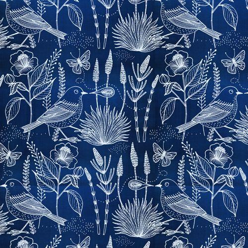 Moody Blues Voile- Sashiko Bird Navy (Geninne for Cloud 9 Fabrics) | Dragonfly Fabrics