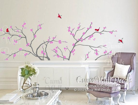 tree wall decals red birds vinyl wall decals lilac cherry blossom wall decals nature wall sticker nursery - tree blue birds Z140 cuma. $68.00, via Etsy.