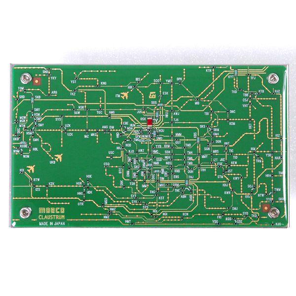 基板雑貨moeco 関西回路線図 名刺入れ 緑