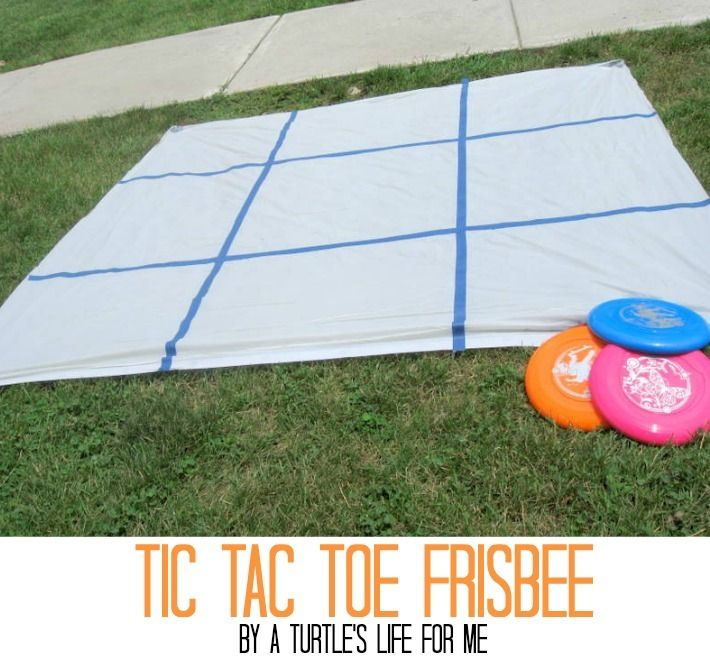 Tic Tac Toe Frisbee! Great idea for youth activities, summer fun, or birthday parties!
