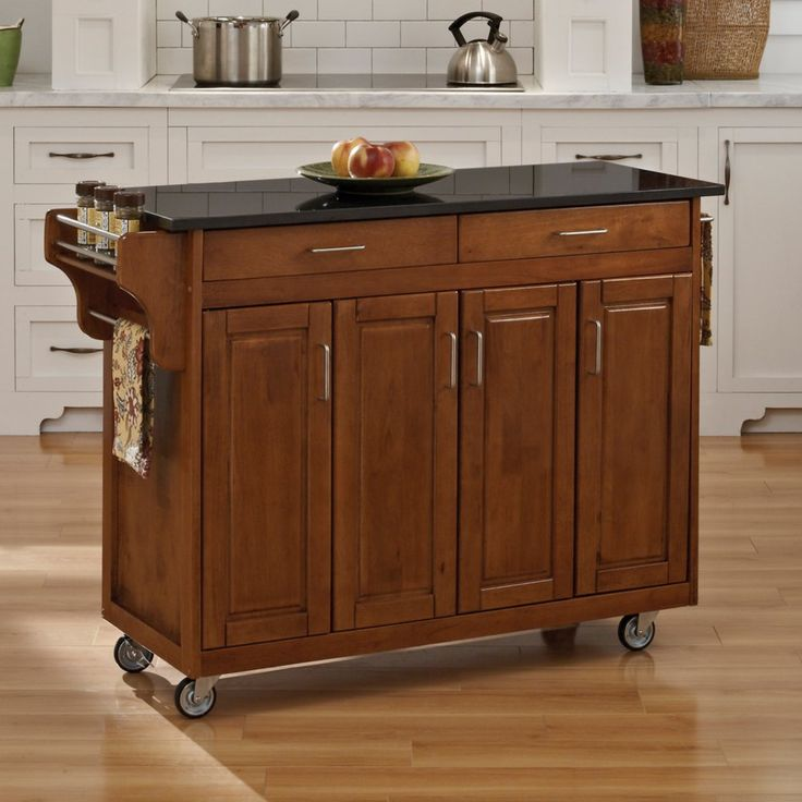 Home Styles Create A Cart 9200 Series Cabinet Kitchen Cart With Black  Granite Top, Cottage Oak Finish