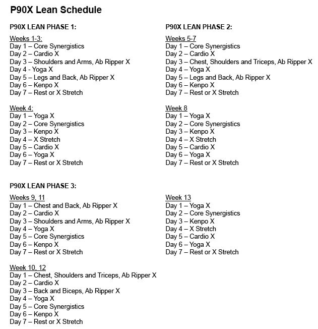 P90X Lean Routine Schedule | Decision...P90X Lean