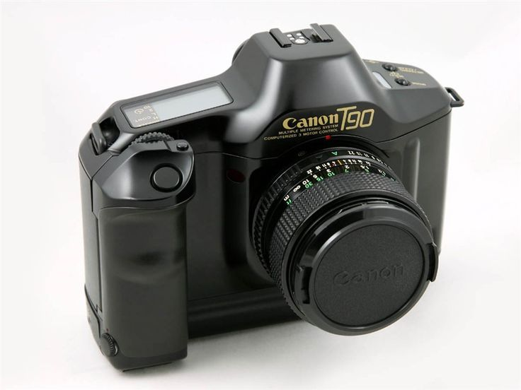 The Canon T90 analog 35 mm SLR camera (1987) – The birth of the modern Canon bodies with their distinctive design created by German industrial designer Luigi Colani.