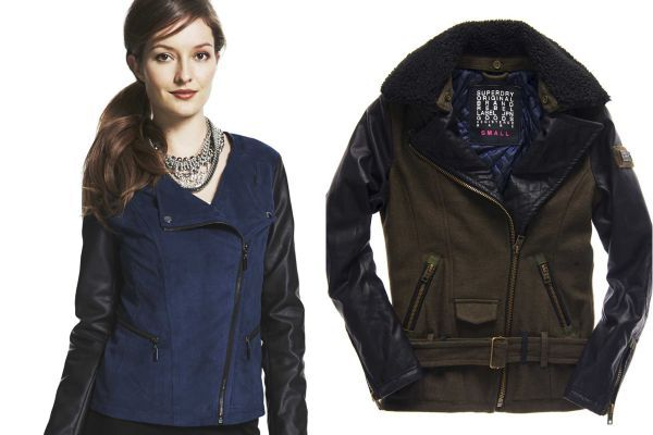 Designers have been revved for moto jackets for several seasons, and they're still in high gear. Leather's nice, but multimedia mixes are more unexpected, like this Alfani jacket, left; $119.50 later this fall at select Macy's stores and macys.com, and Superdry's Low-Ride Motorcycle Biker jacket, right; $250 at select Superdry stores, Manhattan, or for other moto styles visit superdry.com. #fallfashion