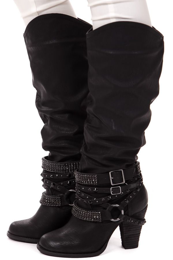 Lime Lush Boutique - Black Tall Strappy Studded Boot, $84.99 (http://www.limelush.com/black-tall-strappy-studded-boot/)