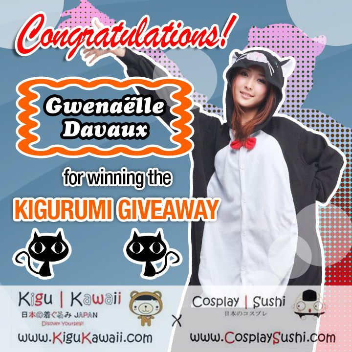 Our Lucky Halloween Giveaway Winner is Here! \ (•◡•) /   Congratulations Gwenaelle Davaux for winning a Cute Black Cat Kigurumi Set from Kigu Kawaii. The winner was picked randomly.  We will have another giveaway soon!  #giveaway #kigurumi #halloween
