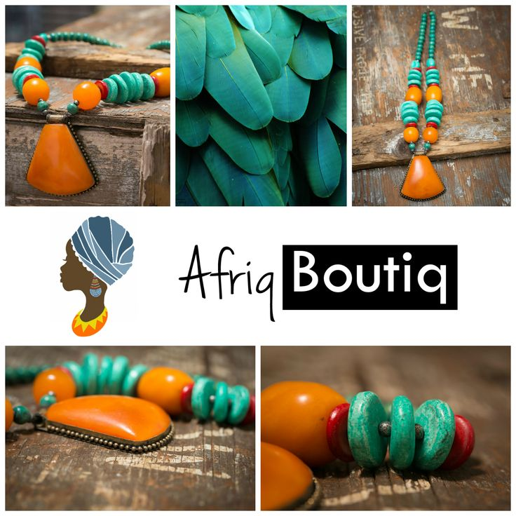 Get 20% off on this beautiful dyed howlite #african #amber #beaded necklace!  Go to our #afriqboutiq shop at https://www.etsy.com/shop/AfriqBoutiq to find out how!