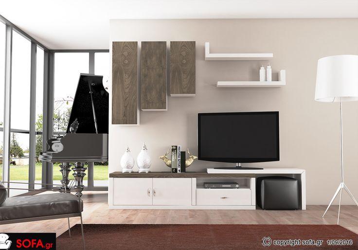Σύνθεση ΣΥ902 με λευκή λάκα και γκρι ξύλο