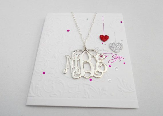 Silver Monogram Necklace,Silver Initial Necklace,Sterling Silver Nameplate Charm,1 Inch Initial Necklace Pendant,Monogram Letters Necklace