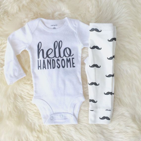 Hello Handsome baby boy take home outfit with organic cotton mustache leggings