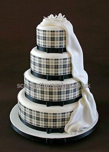 Wedding Cake (699) - Black & White Edible Tartan Collar by Scrumptious Cakes (Paula-Jane), via Flickr
