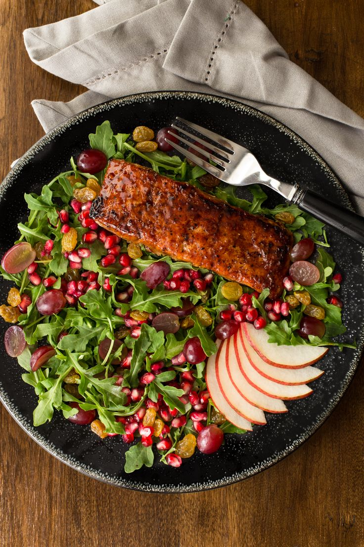 This Asian Glazed Salmon Salad with Maple Ginger Dressing is a healthy ...