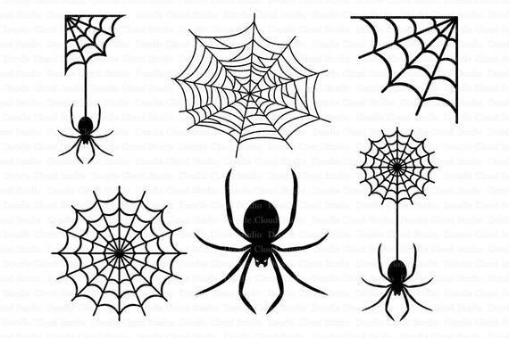 Spiders And Spider Web Svg Files For Silhouette Cameo And Cricut Clipart Png Transparent Included Spider Drawing Web Tattoo Spider Web Tattoo