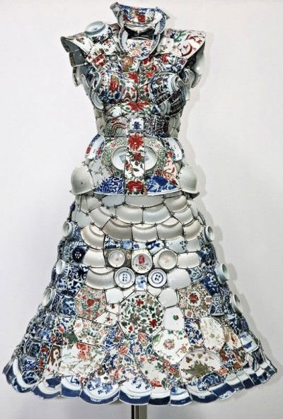 Chinese artist Li Xiaofeng uses broken porcelain shards from archeological sites to create unique wearable costumes.