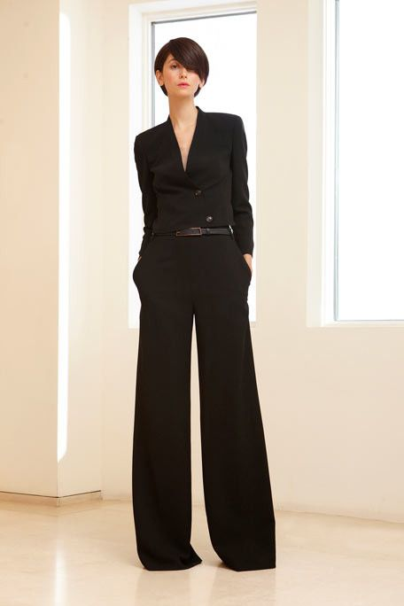 LOVE this outfit! Black on black and a wide leg! I'd wear this to work or a night on the town
