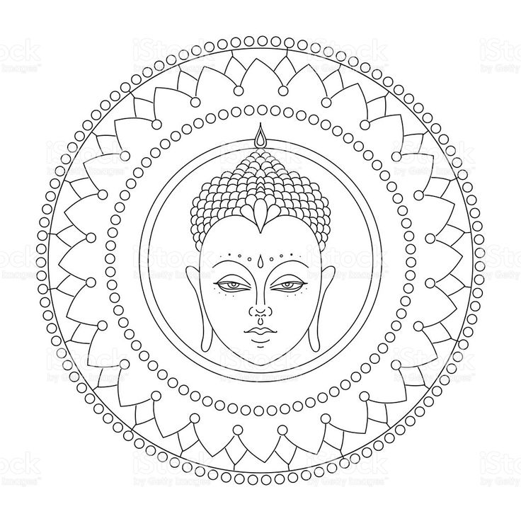 Head of Buddha in mandala. Indian, Hindu Tattoo royalty-free stock vector art