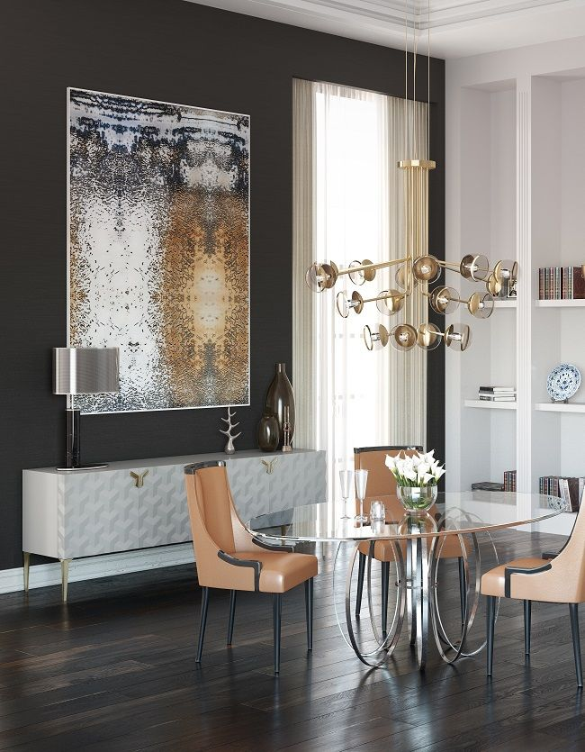 A modern dining room with a contemporary design sideboard in white, Triny. A geometrical pattern makes this sideboard a one of a kind piece.