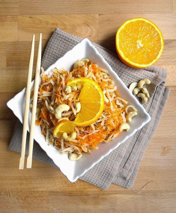 Rosenoisettes, Calme et Gourmandises...: Salade crue carottes, céleri, orange et noix de cajou