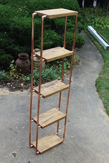 """Catalpa and copper pipe 5-unit shelf by Paul Segedin and Urban Prairie Design of Chicago. Shelf measures approximately 74""""h x 21""""w x 9""""d. This piece is available for $450."""