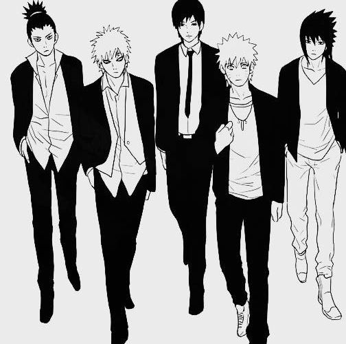 Hotness. Shikamaru, Gaara, Sai, Naruto, Sasuke (left to right) Black pants only, sasuke -__-