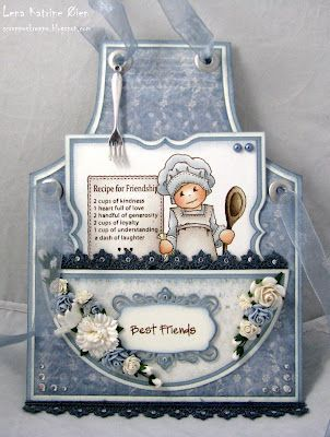 Apron Card - cute way to give a recipe to a friend - tuck it inside the pocket ---also thinking may alter this a bit and put my fav recipes in it and put on page in heritage scrapbook: