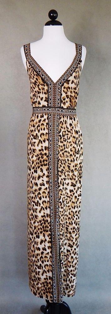 INC Long Maxi Leopard Animal Print Stretch Jersey Empire Tank Dress Plus Size 3X #INCInternationalConcepts #EmpireWaistMaxiStretchBodycon #Casual