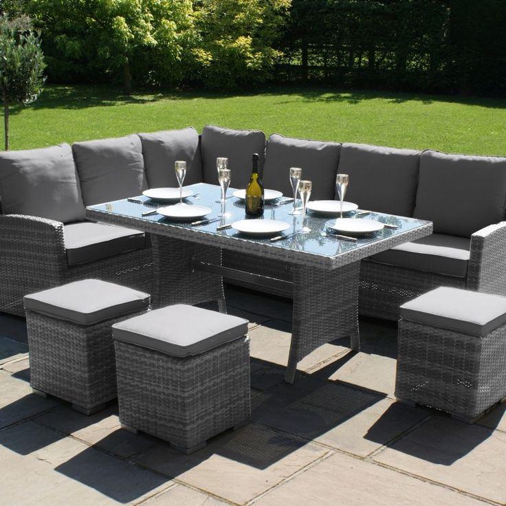 Maze Rattan Garden Furniture Kingston Grey Corner Dining Set