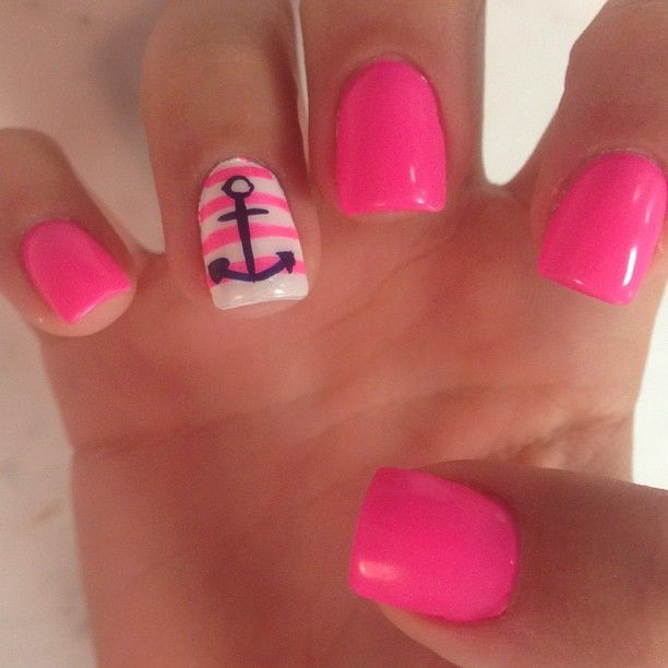 summer nails anchor LOVE!!