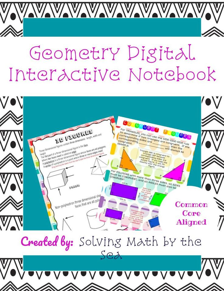 Set of Drag and Drop and Typeable Digital Interactive Notebook Pages for Google Slides.  Includes the following slides: Types of Triangles Classifying Triangles by Sides and Angles Polygons Interior Angles of Polygons Area of Trapezoids Area of Parallelograms Area/Circumference of Circles Area of Irregular Figures Irregular Figures Craftivity Slicing 3D Shapes Hands-On Activity 3D Shapes Vocabulary Congruent Figures Geometry Formulas