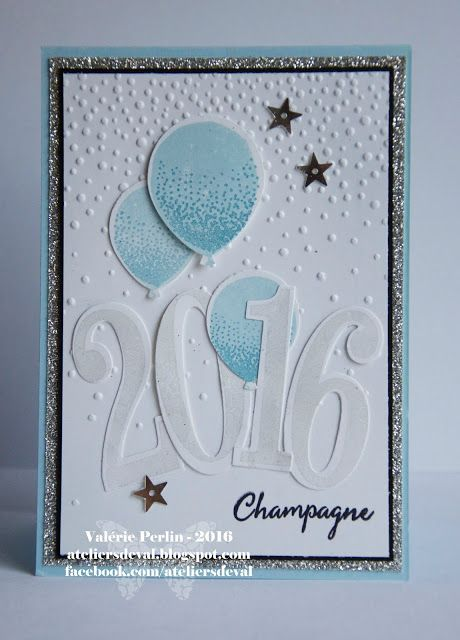 handmade New years Card from The Val Workshops ... large die cut numbers and balloons ... luv how the Falling Snow embossing folder texture looks like confetti ... Stampin' Up!