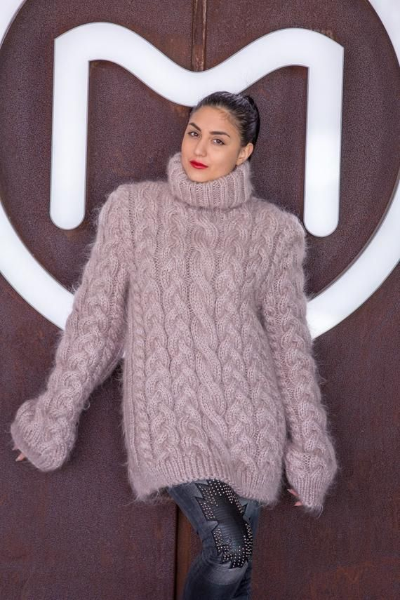 b12b63738c5a17 Beige Mohair Sweater Cables Sweater Hand Knit Sweater