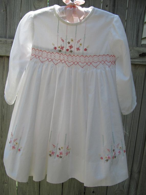 Beautiful White Dress With Flower Embroidery By Sarah Loise England on Etsy, $22.00