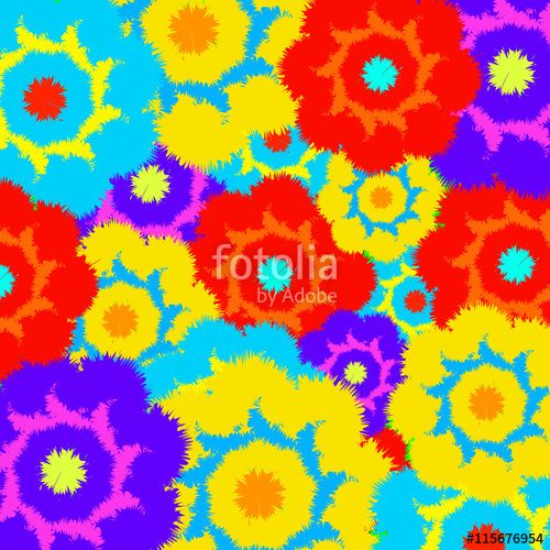 Вектор: Multi-colored furry flowers. Exotic abstract colors for background or pattern
