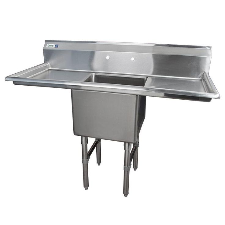 """Regency 16 Gauge One Compartment Stainless Steel Commercial Sink with 2 Drainboards - 54"""" Long, 18"""" x 18"""" x 14"""" Compartment"""