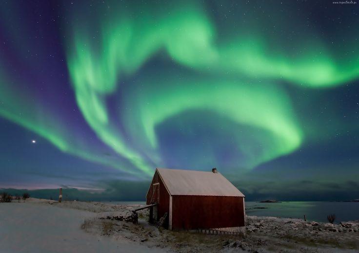 Dom, Na Wybrzeżu, Zorza Polarna, Gwiazdy