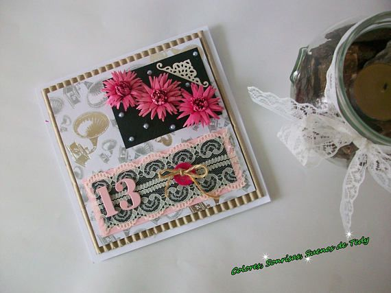 13th Birthday Shabby Chic card Quilling Aniversary card