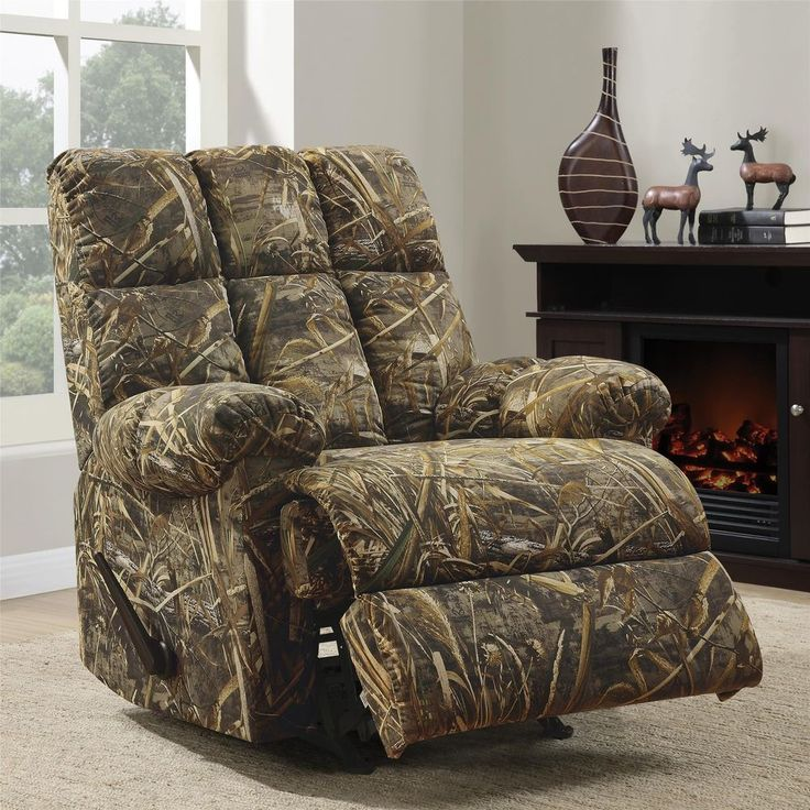 Camouflaged Rocker Recliner Chair Hunting Living Room Contemporary Man Cave #dorelasia