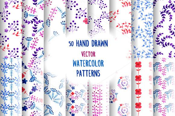 50 Watercolor Floral Patterns by Iliris on Creative Market