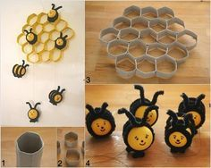 DIY Cute Beehive Made out of Paper Rolls and Kinder Surprise