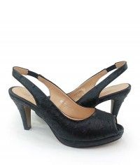 Kohl - Womens ostrich black slingback peeptoe mid heels $99.00 #shoeenvy #shoes #fashion #instalove #pretty #ethical #glamorous