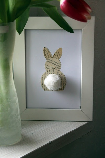 Bunny rabbit silhouette with a 3D cottontail. Simple but pretty Easter decoration.