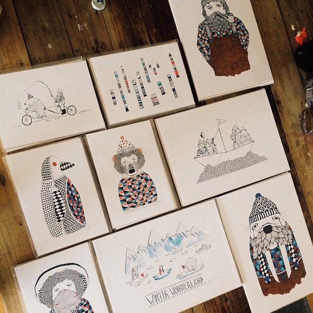 Getting ready for my first #littlecreaturesmarket tomorrow. Pop by and say hello #art #illustration #interior #interiordesign #graphicdesign #design #ink #sailor #hipster #winter #artist #vsco #vsco #instaart #kidsroom #kidsinterior #children #childrenstuff #instakids #fineliner #patterns #doodle #tinamose #mywork