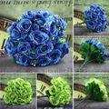 Free Shipping  Colorful Silk PeoWholesale Silk Peony Leafy Roses Bouquet Bridal Hydrangeas Wedding Home Decor KC745-746