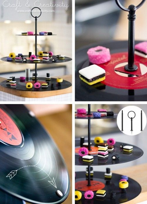 Hot DIY Vinyl Records Cupcake Stand | Shelterness