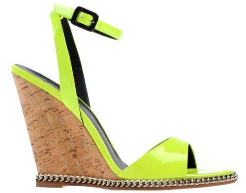 Sandales en cuir vernis vert fluo à semelles compensées en liège, Giuseppe Zanotti