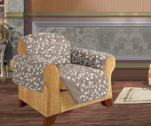 Quilted Pet Dog Children Kids Furniture Protector Slip Cover, Leaf Design Beige Chair >>> You can find out more details at the link of the image.