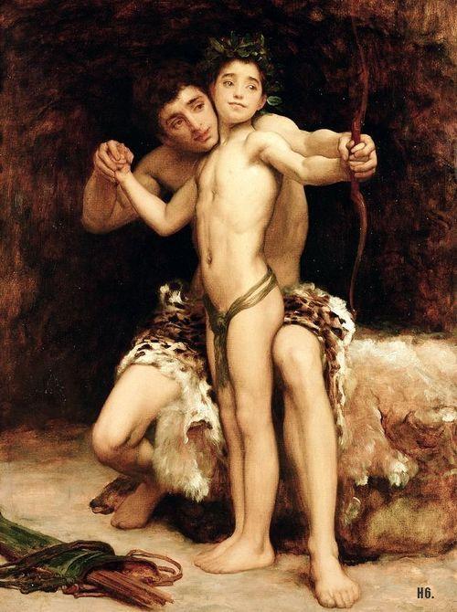 The Hit. 19th.century. Sir Frederic Leighton. English. 1830-1896.  oil on canvas.