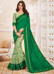 Green Color Georgette Festive Sarees With Banarasi Border : Aaravi Collection YF-64689