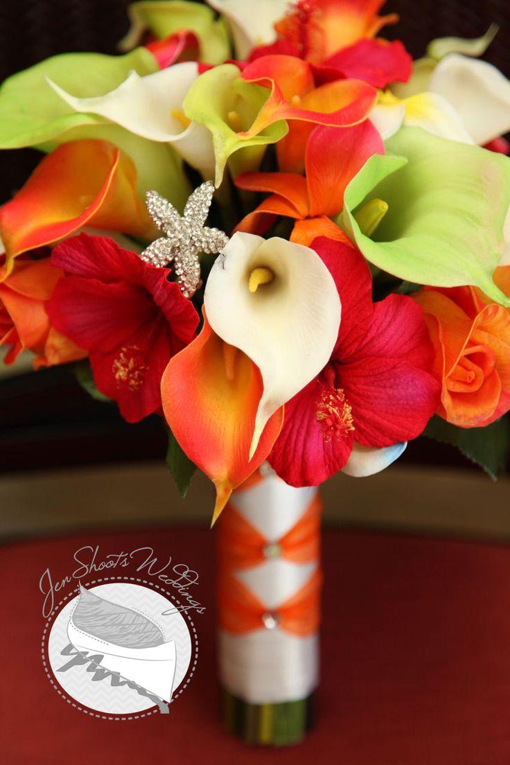 Tropical wedding bouquet for a destination wedding in Jamaica www.JenShootsWeddings.com