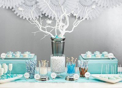 Tiffany blue theme wedding, baby shower and bridal shower ideas   #tiffanyblue  http://www.babylifestyles.com/images/showers/tiffanydessert1.jpg